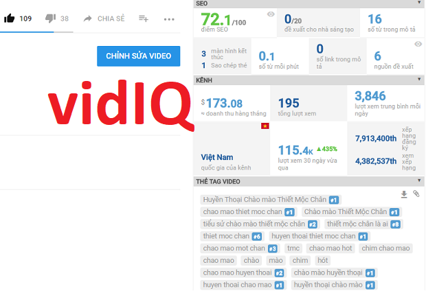cong cu ho tro seo video youtube vidiq