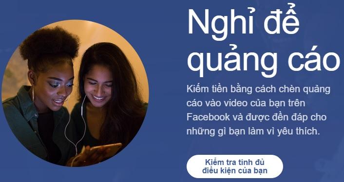 kiếm tiền với Facebook là Ad Breaks