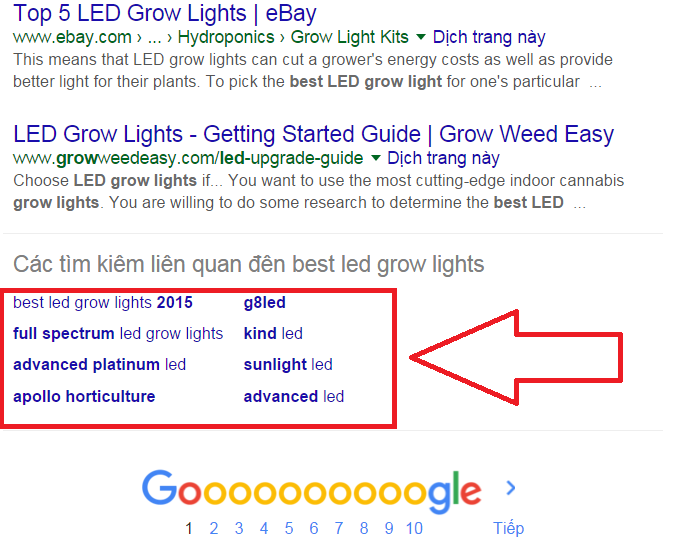 những từ khóa Google gợi ý ở cuối mỗi trang tìm kiếm