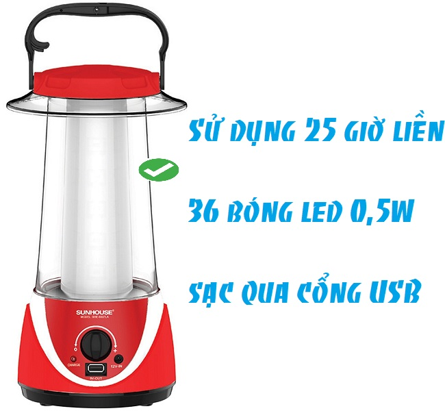 Đèn Tích Điện Đa Năng 360 LED Sunhouse SHE-6037LA