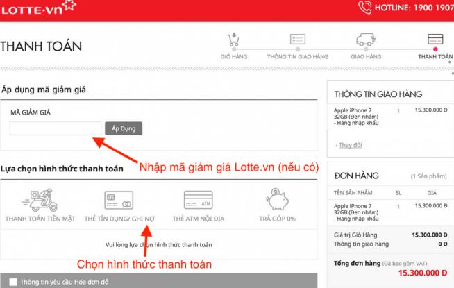 Nhập mã giảm giá Lotte.vn và thanh toán